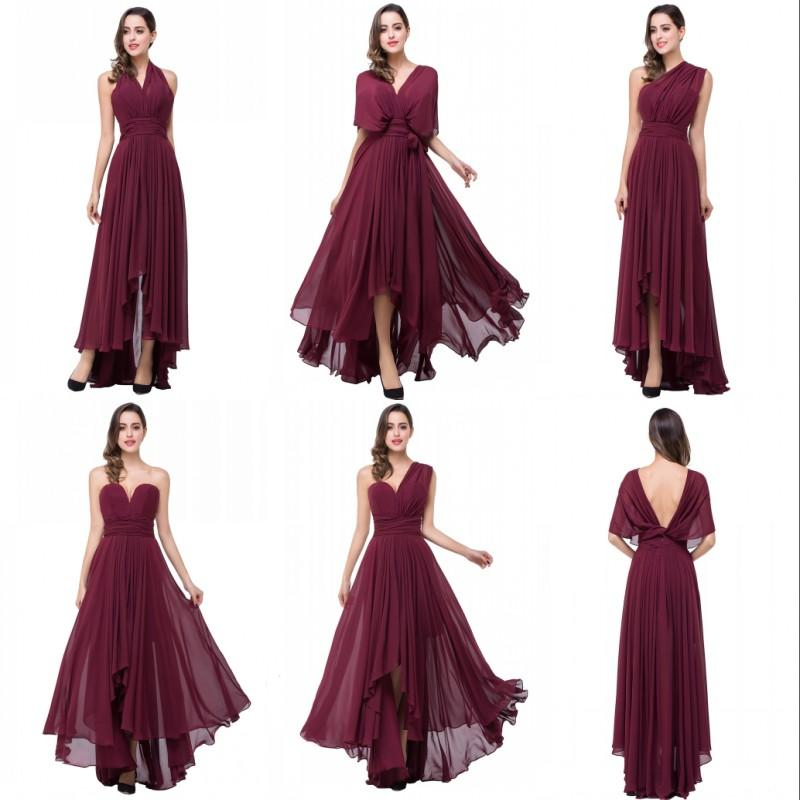Real Image Burgundy Convertible Bridesmaid Dresses Chiffon A Line Floor Length Bridesmaids Gowns Cheap Long Evening Party Dress BZP0829
