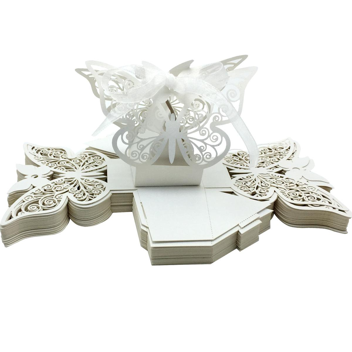 Laser Cut Butterfly Wedding Favor Box In Pearl Color Candy Boxes For ...