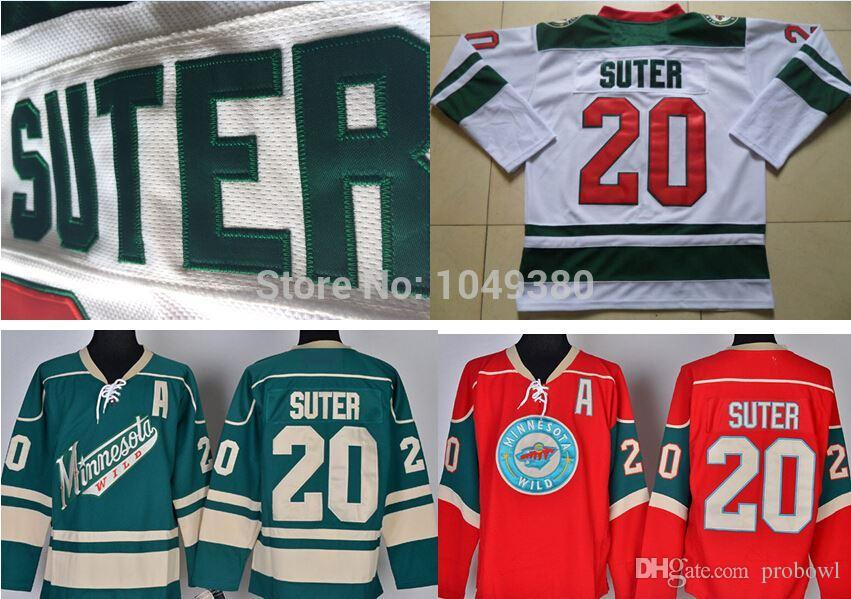 2019 Cheap Minnesota Wild Hockey Jerseys  20 Ryan Suter Jersey Green Red  White Color Authentic Stitched Logos A Patch From Probowl 1d13401f8