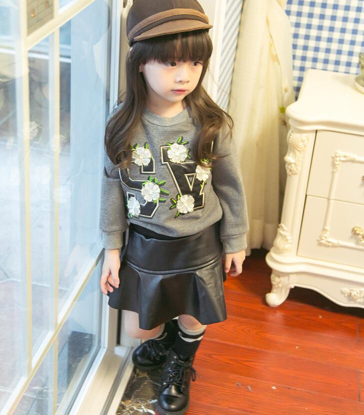 2017 2015 Flower Jacket   Pu Leather Skirt Girl Suit Autumn 2 7 ...
