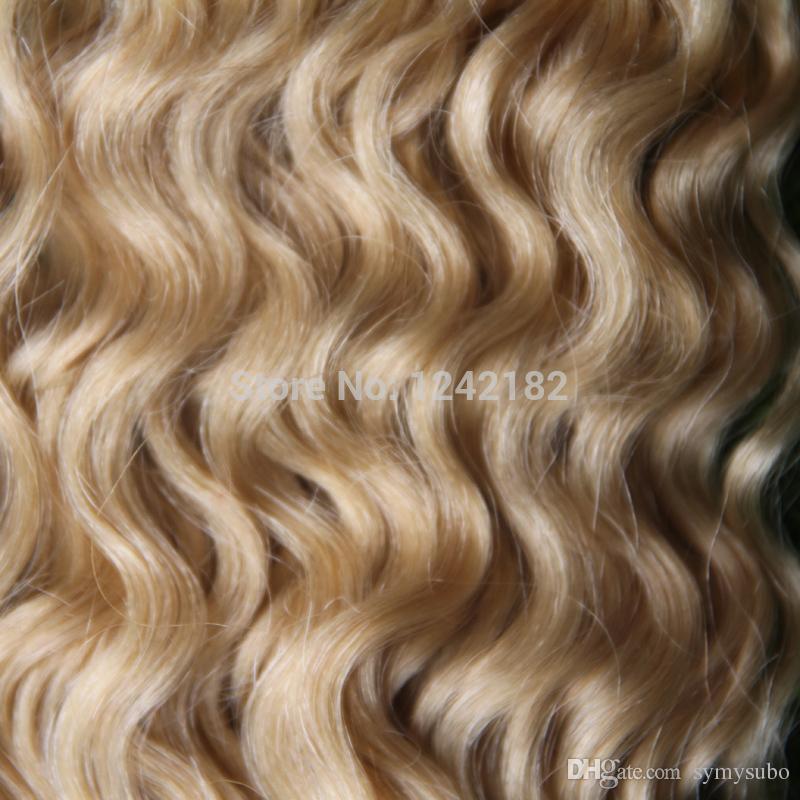 #613 bleach blonde stick I tip Human Hair Extensions 1G/Strand Brazilian deep curly i stick tip Keratin hair extension