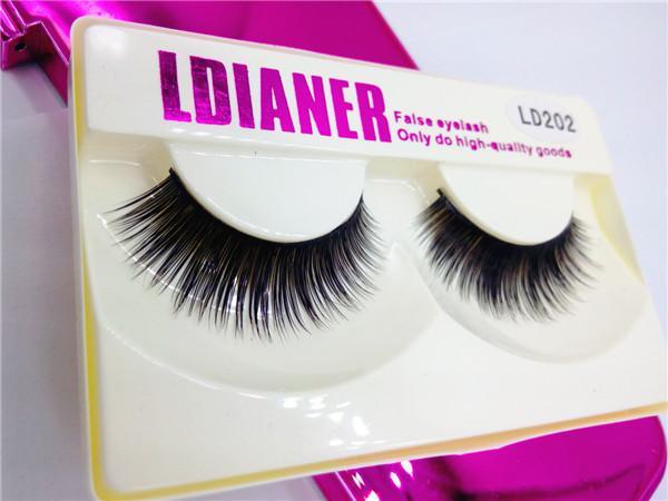 High Quality False Eyelashes Handmade Super Natural Long Thick Mink Fur Eyelashes Fake Eye Lash extensions Black Full Strip With Packs LD202