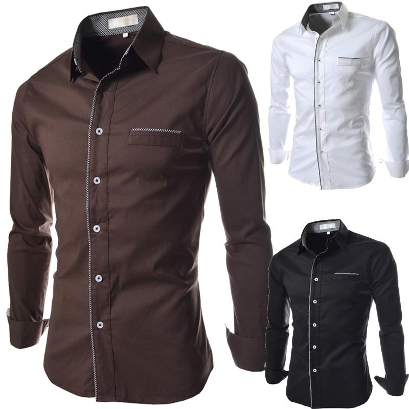 2017 2016 New Men'S Slim Fit Long Sleeve Casual Shirts Fashion ...