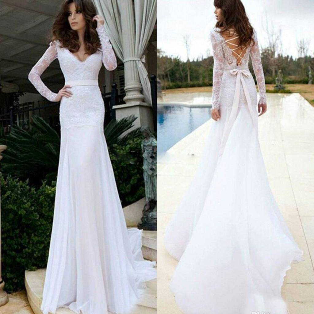 Top Sedding Sexy Wedding Dresses Fitted Mermaid V Neck Illusion ...