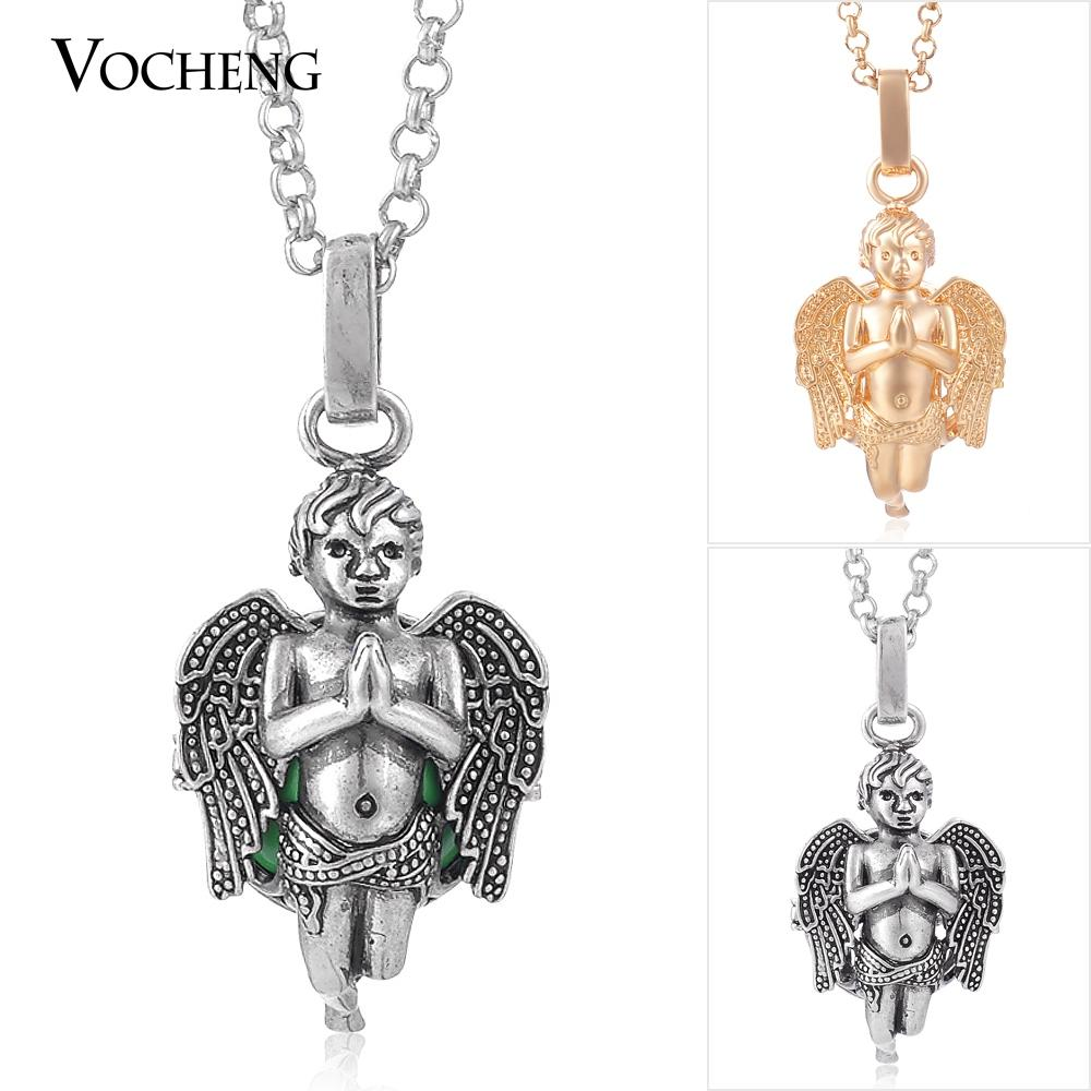VOCHENG Mexican Chime Angel Pendant Necklace Pregnancy Ball Jewelry with Stainless Steel Chain VA-082