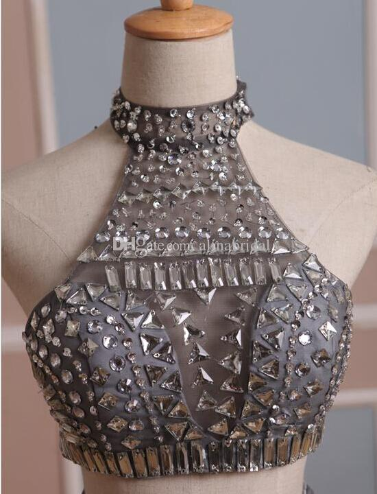 2019 Silver Grå Två Pieces Prom Klänningar High Neck Beaded Top Cut Out Waist Homecoming Dress Crystal Rhinestones Short Party Gown Real Image
