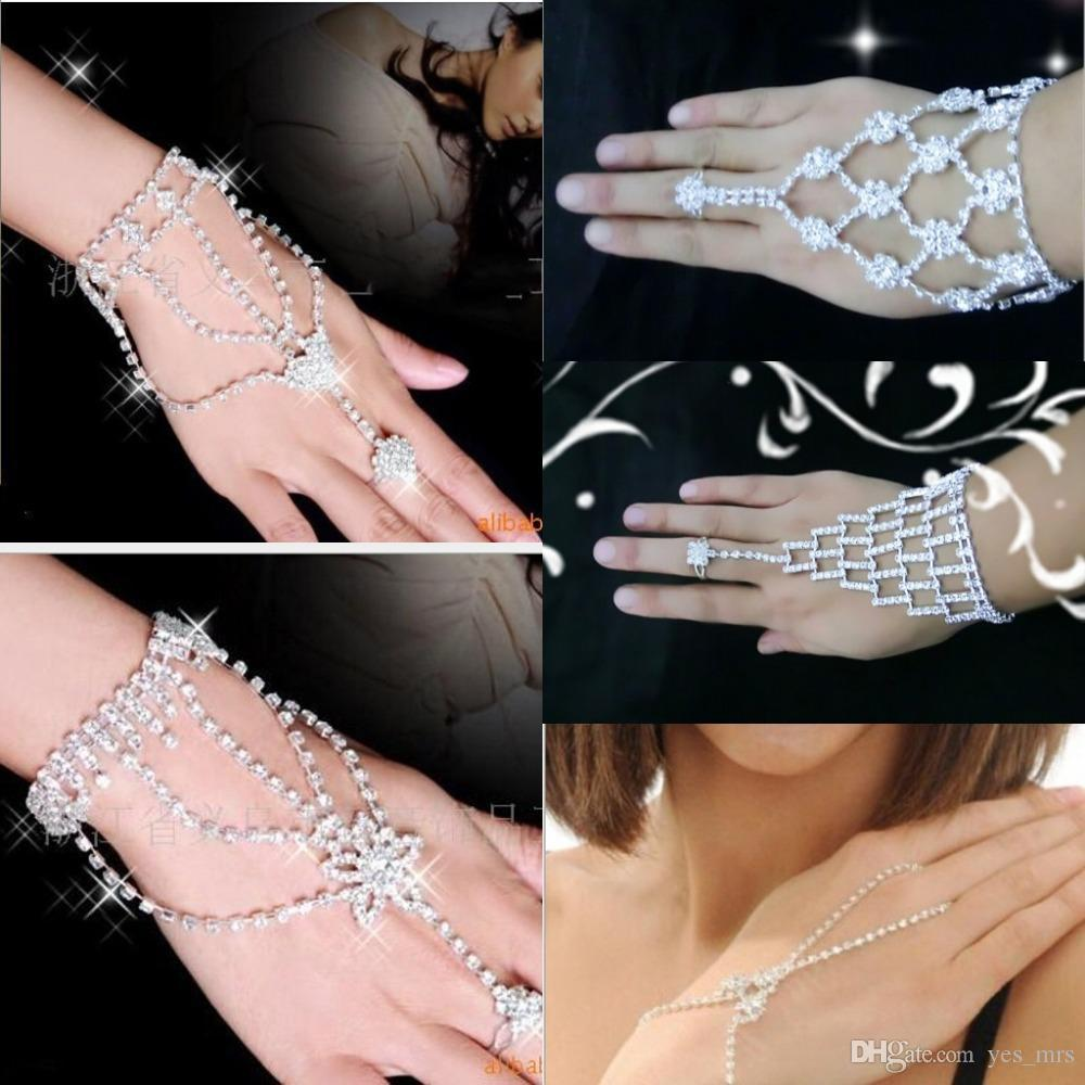 So cheap Fashion Bridal Wedding Artificial bracelets Crystal Rhinestone Jewelry Slave Bracelet Wristband Harness Cuff bracelets for women