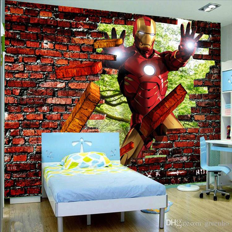 Kids Rooms Decorating Ideas Red Brick Wallpaper: Iron Man Brick Photo Wallpaper Avengers Wallpaper Custom