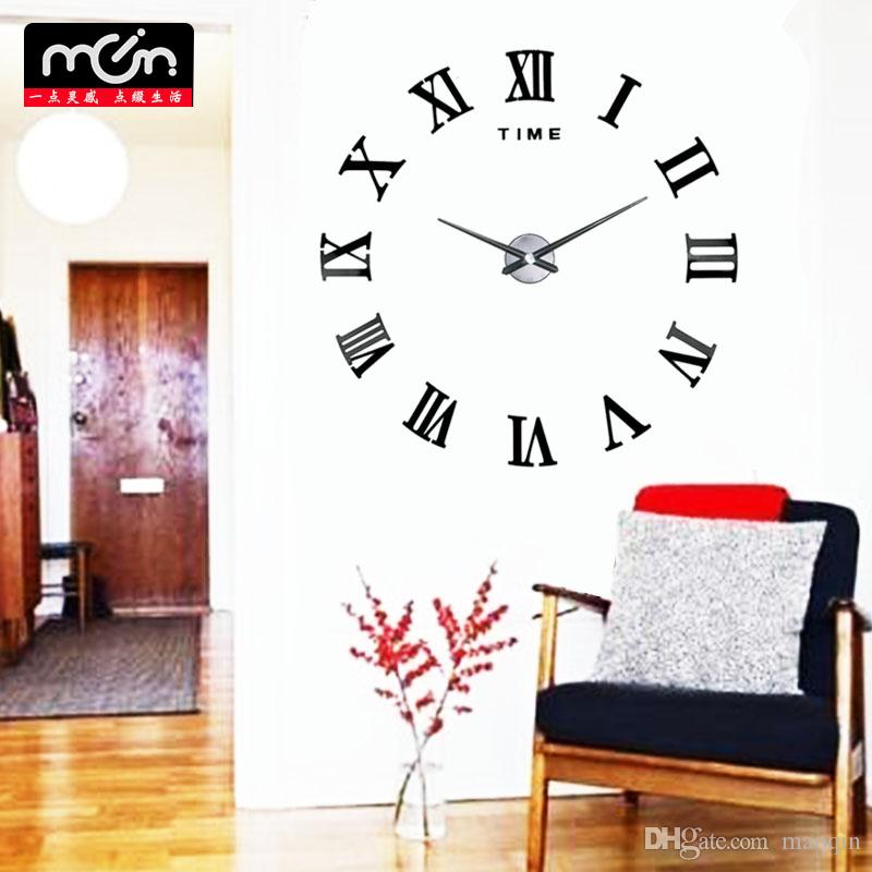 Wholesale 3D Fashion Personality Mirror Wall Clock Sticker Removable Roman  Digital Clock Bedroom Wall Clocks Room Restaurant Clock Wall Clocks Acrylic  ...