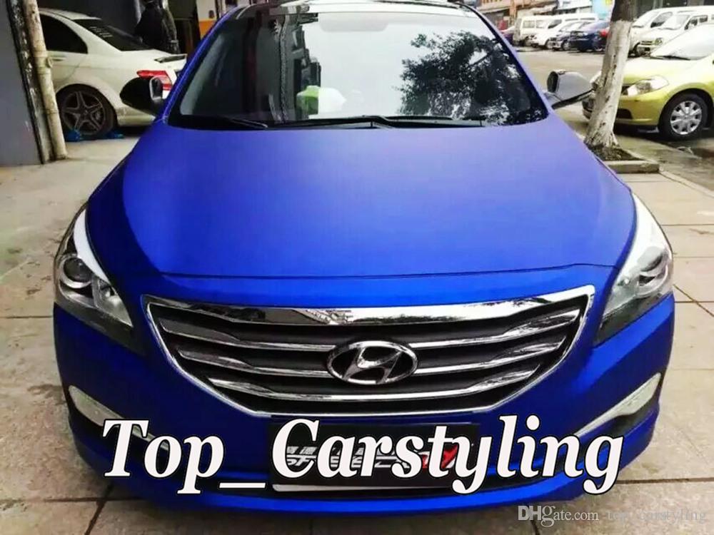 Envoltura de vinilo azul satinado con burbuja de aire. Papel de aluminio azul metálico mate cromado. Lámina adhesiva de 1,52 * 20M / rollo 5ftx66ft.