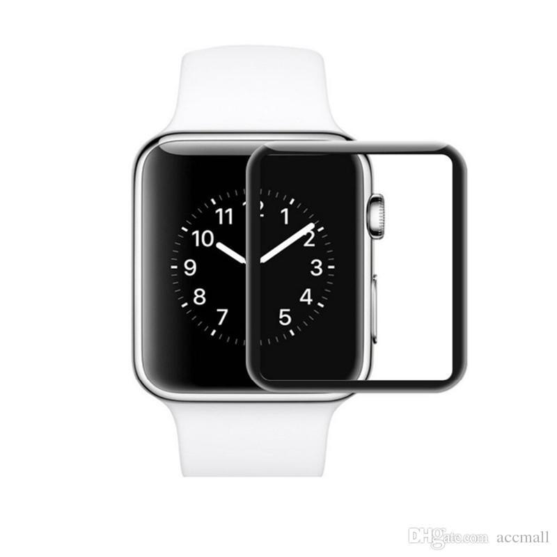iWatch를위한 3D 완전 커버 강화 유리 필름 Apple Watch 38mm 42mm 시리즈 1 2 3 스크린 보호 필름 소매 패키지를 사용한 방폭형