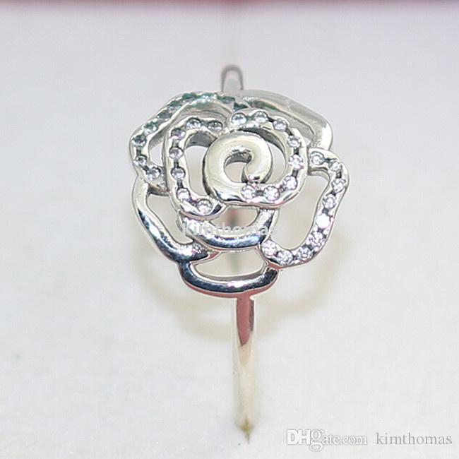100% 925 Sterling Silver Rose Ring with Clear Cubic Zirconia Fits European Pandora Style Charms Jewelry