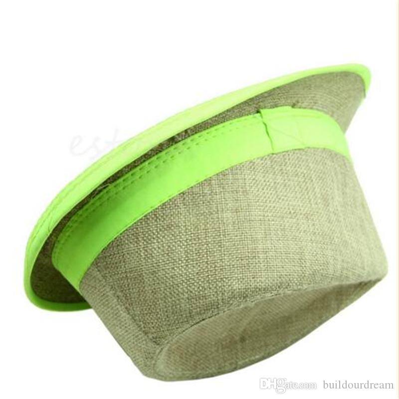 Wholesale-Hot Fashion Unisex Summer Beach Sun Straw Casual Jazz Dance Hat Trilby Linen Cap a69-a75