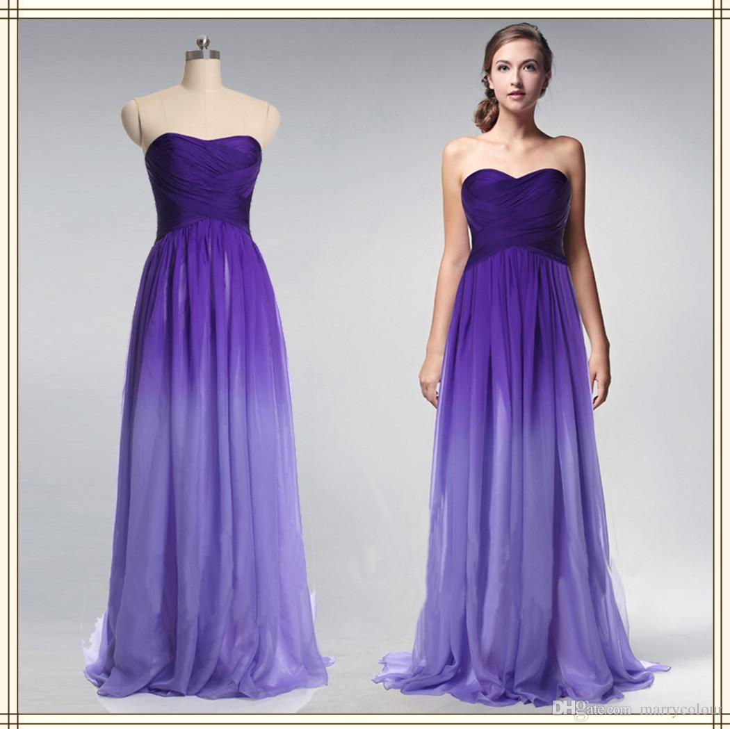 High Quality Gradient Purple Color Long Prom Dress Sweetheart ...