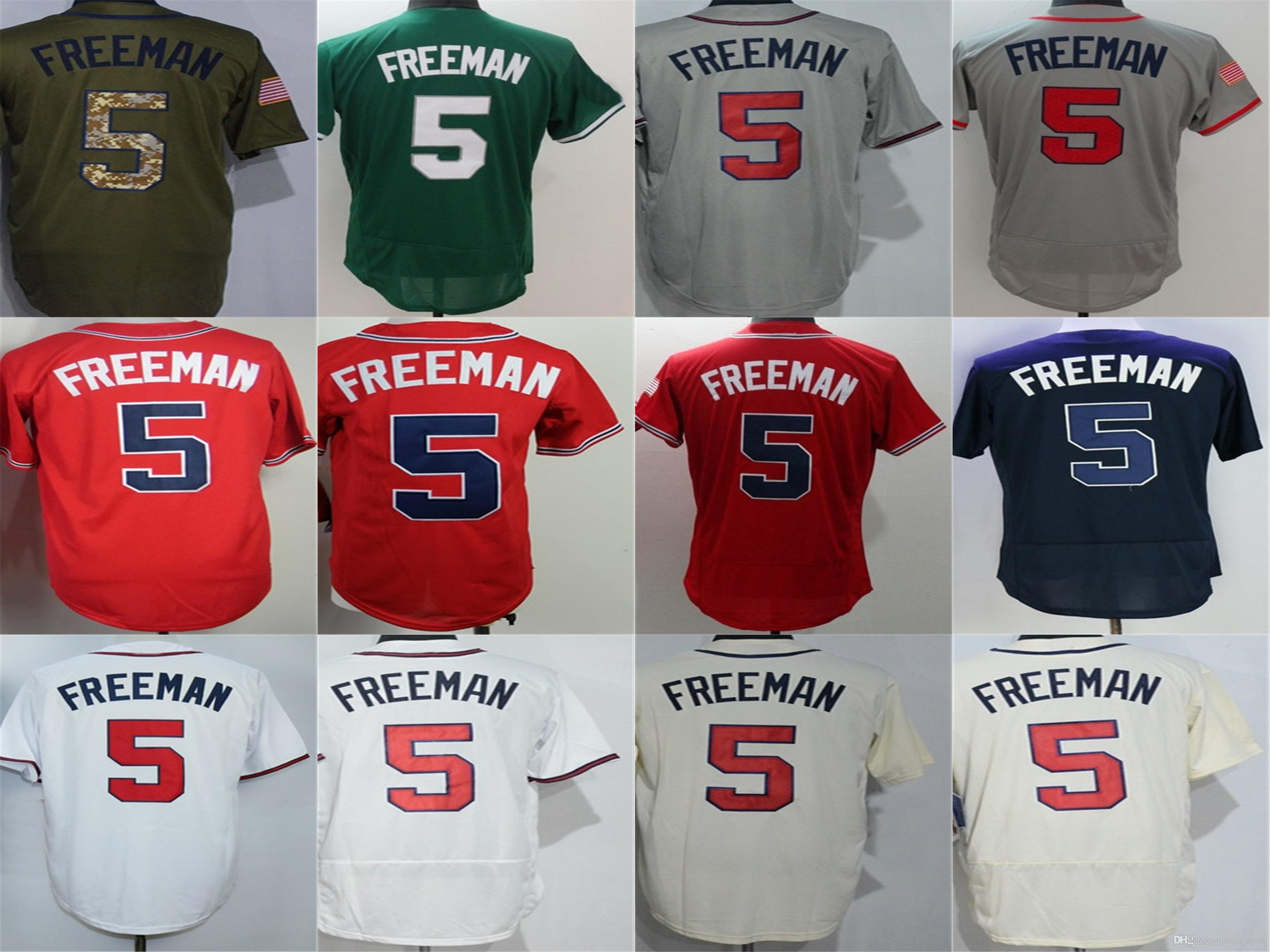 4effdd440 Mens Womens Kids Toddlers Atlanta Jersey 2017 New 5 Freddie Freeman Flex  Base Cool Base Blue Beige White Green Red Grey Baseball Jerseys 5 Freddie  Freeman ...