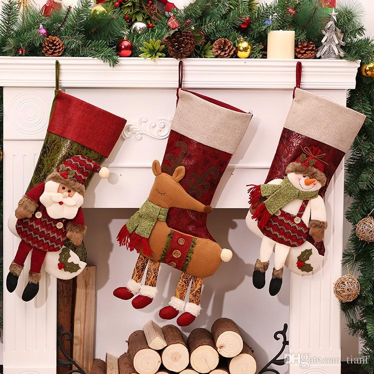 2018 2017 hot salelarge vintage christmas stocking fillerchristmas decorations for home christmas tree ornamentsgift holders stockings enfeite from tianf - Vintage Christmas Stockings