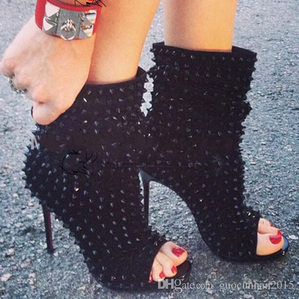 2017 Punk Booties Gladiator High Heels Sandals Boots Women Pumps Shoes Woman Peep Toe Rivets Women Boots Women Moptorcycle Boots For Female