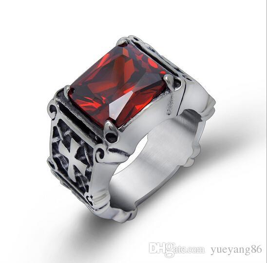 Alta qualità moda hiphop rosso / nero big strass stone biker mens argento in acciaio inox design punk croce anello 7-12 #