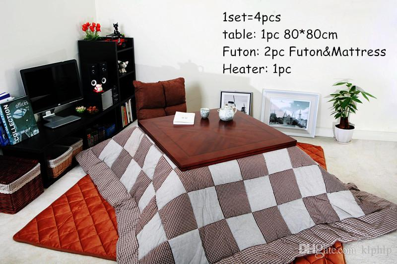 4pcs Set Living Room Sets Japanese Kotatsu Furniture Asian Traditional Low Wooden Coffee Table Foot Warm Futon Heater