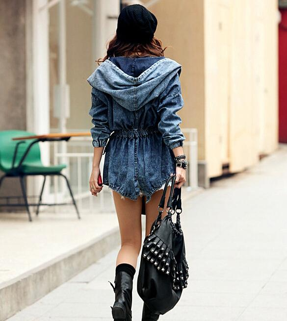 2016 New Spring and Autumn Women Jeans Jacket European and American Fashion Hooded Waist Long Cardigan Denim Jackets Capes Ponchos Coats