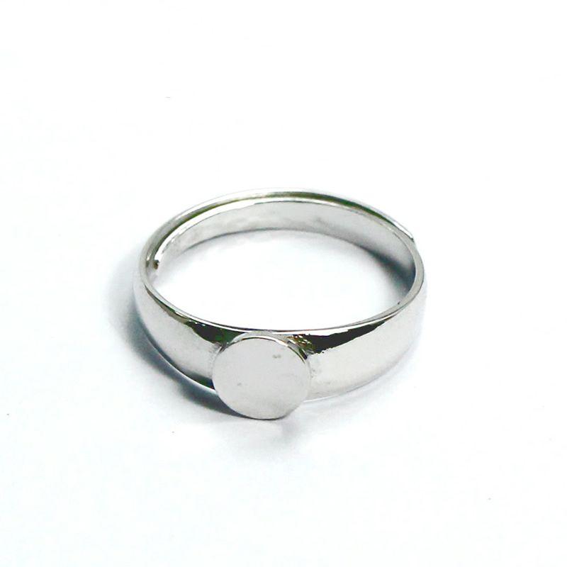 Beadsnice Кольцо из стерлингового серебра 925 пробы с кабошоном, 6 мм, круглое основание, кабошон, регулируемые кольца, кольца ручной работы, ID 33486