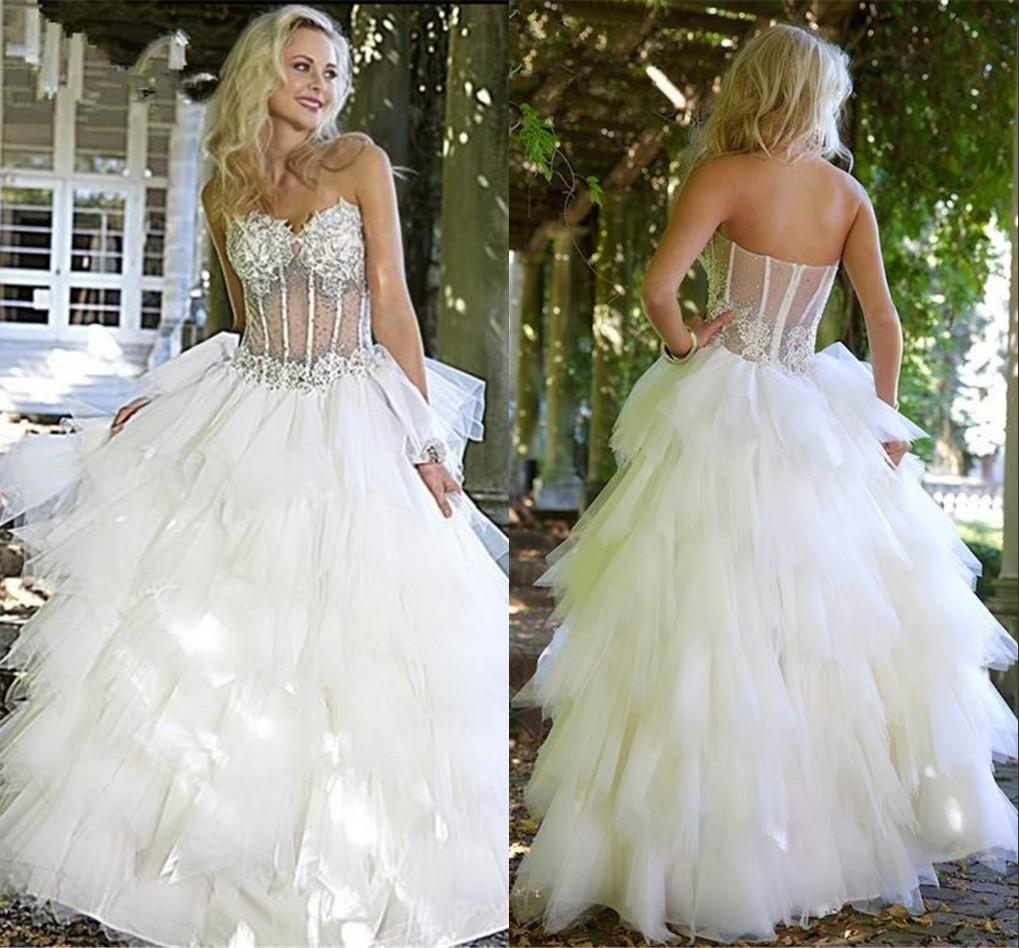 Sweetheart Ball Gown Wedding Dresses 2015 Lace Applique Beads Bodice ...