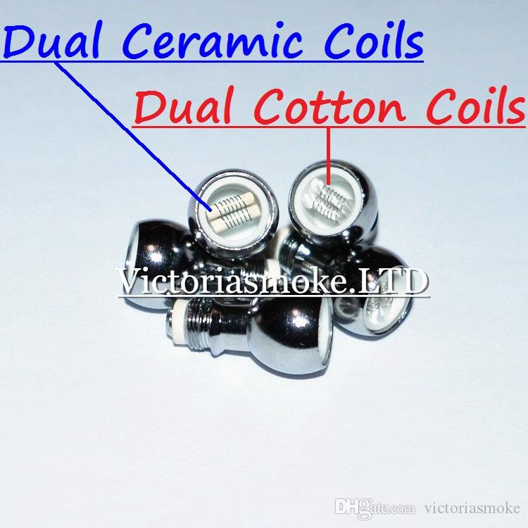 Newest dual wax Coil Ceramic Cotton Coil Head for glass globe atomizer Glass Vaporizer ceramic Core ceramic Wax Dry Herb coil head Ecigs