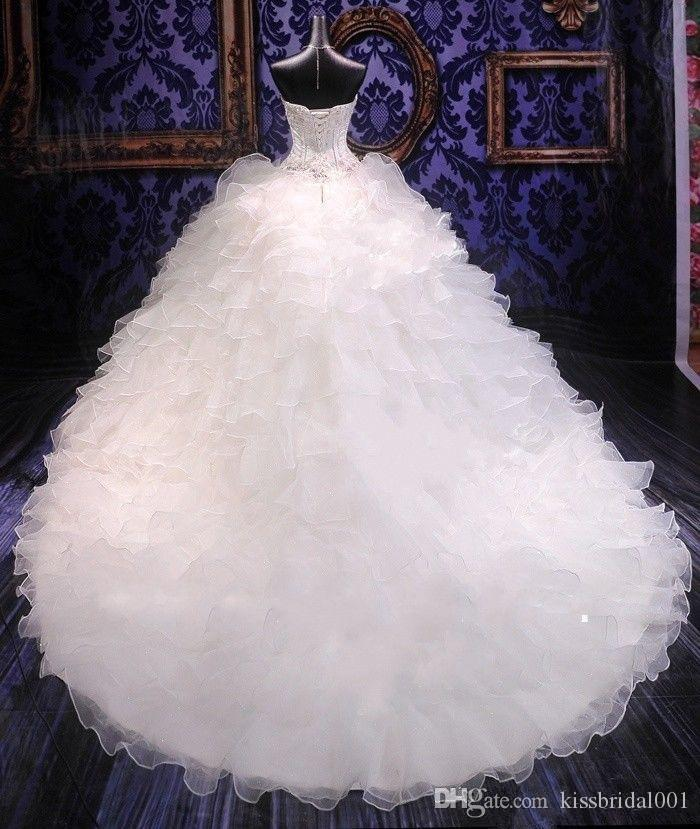 Princess Wedding Dresses Long Luxury Crystal Bridal Gowns Sweetheart Neck Lace Up Back Organza Whit Ivory Cheap Wedding Gowns