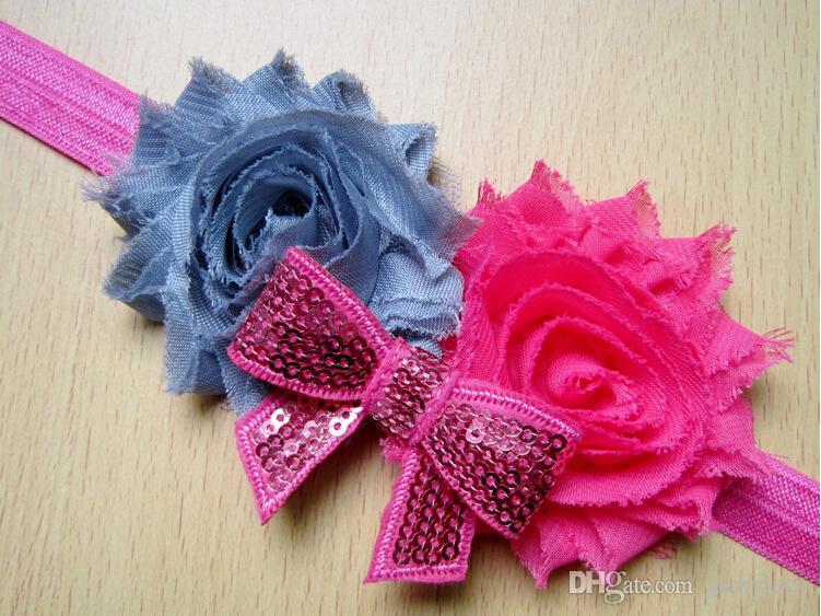 소녀를위한 새로운 아기 머리띠 헤어 액세서리 초라한 꽃 머리띠 헤어 볼 9 색 무료 배송