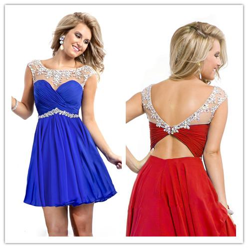 2015 Beaded Chiffon Short Prom Dresses Sheer Scoop Crystals Backless ...