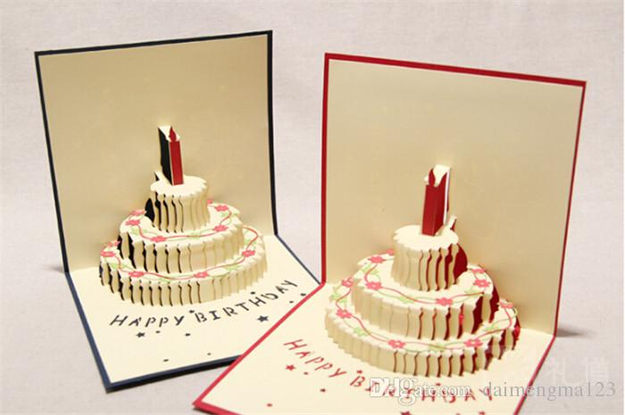NEW Arrive Birthday Cake 3D Pop UP Gift Greeting Blessing Cards Handmade Paper Silhoue Creative Happy Christmas D066 Free Printable