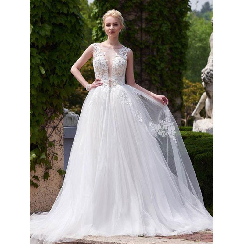 2019 A-Line Wedding Dresses Sheer Neck Cap Sleeve Appliques Lace Tulle Backless Bridal Gowns Vestido De Novia
