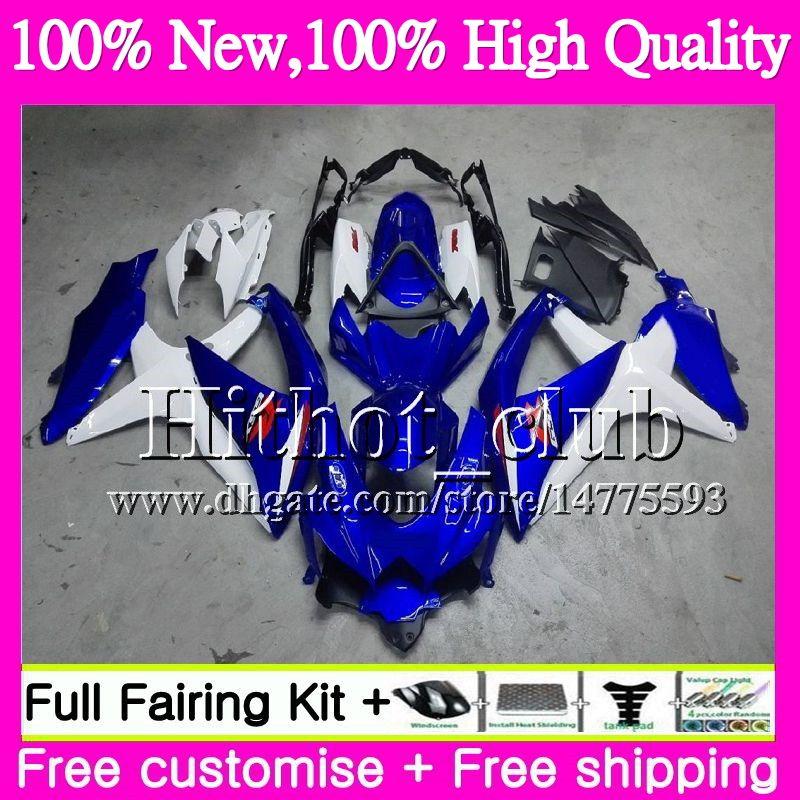 Bodys For SUZUKI GSXR750 08 09 10 K8 GSXR 600 08 10 26HT21 GSX-R750 GSX-R600 GSXR 750 GSXR600 2008 2009 2010 Blue white Motorcycle Fairing