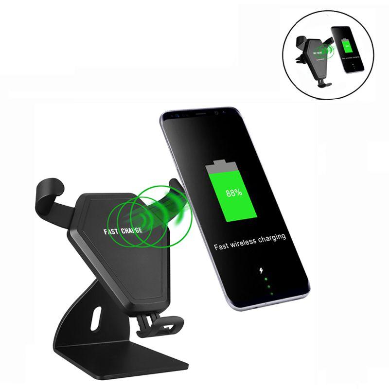 Caricabatteria da auto wireless Qi 2 in 1 Supporto da tavolo Dock di ricarica wireless veloce Samsung Galaxy s7 edge s8 plus note8 iphone 8 X con confezione