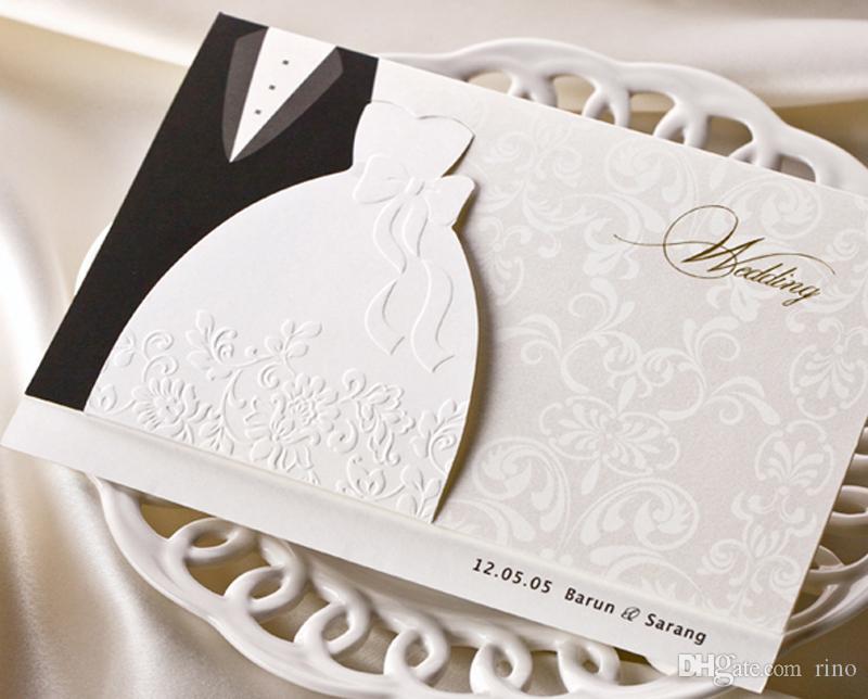 بطاقات دعوات الزفاف الشخصية التقليدية سهرة اللباس العروس العريس تصميم بطاقات دعوات الزفاف diy مع صفحة فارغة قابلة للطباعة