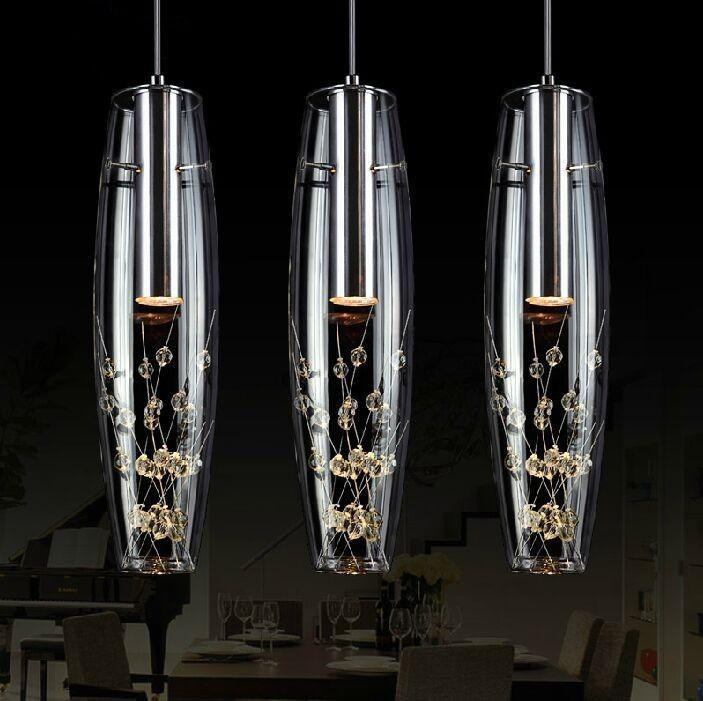 Ücretsiz Kargo 2015 Yeni Yaratıcı Kişilik Restoran LED Lamba Kristal Avize Modern Minimalist Bar Masa Lambası Yemek Asılı Lamba