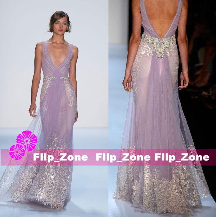 Badgley Mischka 2016 Mermaid Prom Dresses With Deep V Neck Straps ...