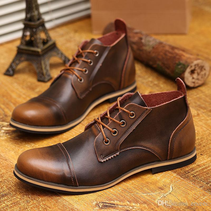 Us 6 10 Fashion Real Leather Lace Up Cap Toe Mens Oxford Formal Dress Shoes  Winter Ankle Boots Fashion Casual Leather Shoes Womens Boots Boots Uk From  ...