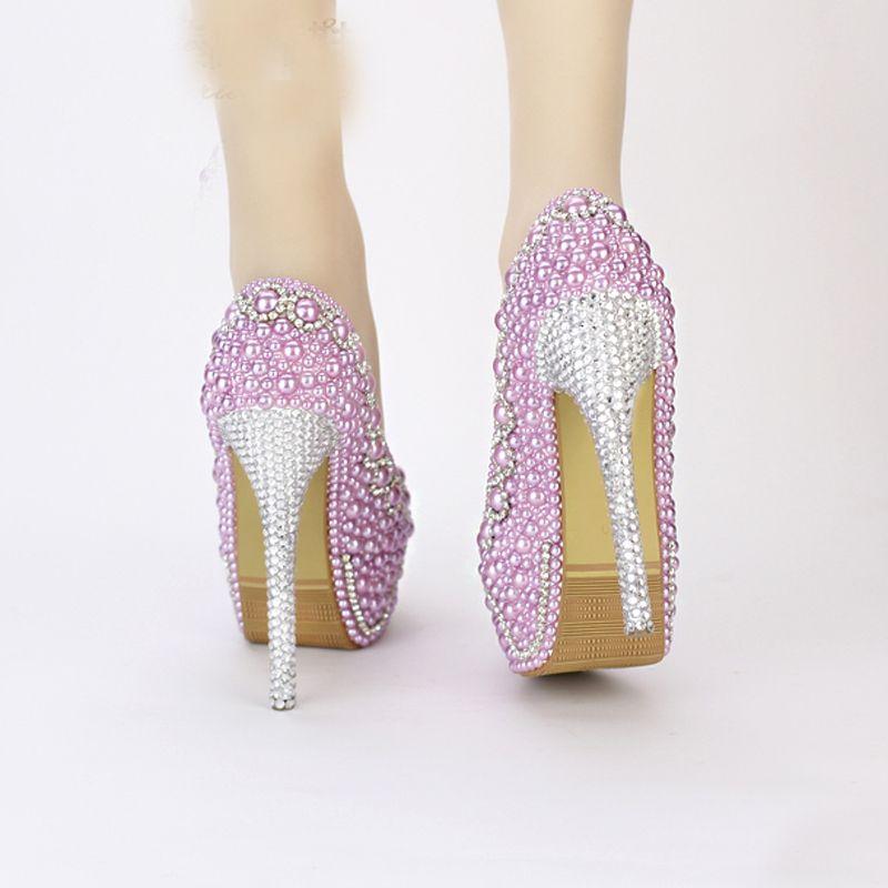 New Handmade Fashion Purple Perle Chaussures De Mariage De Luxe Strass Talon Aiguille Robe De Mariée Chaussures De Soirée De Soirée De Bal Pompes