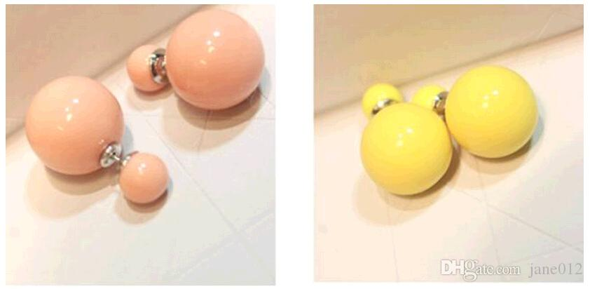 Hot deux faces boucles d'oreilles double perle avant dos oreille boucles d'oreilles bijoux de mode en gros rondes goujons en forme 18 couleurs mixtes Oder mixte