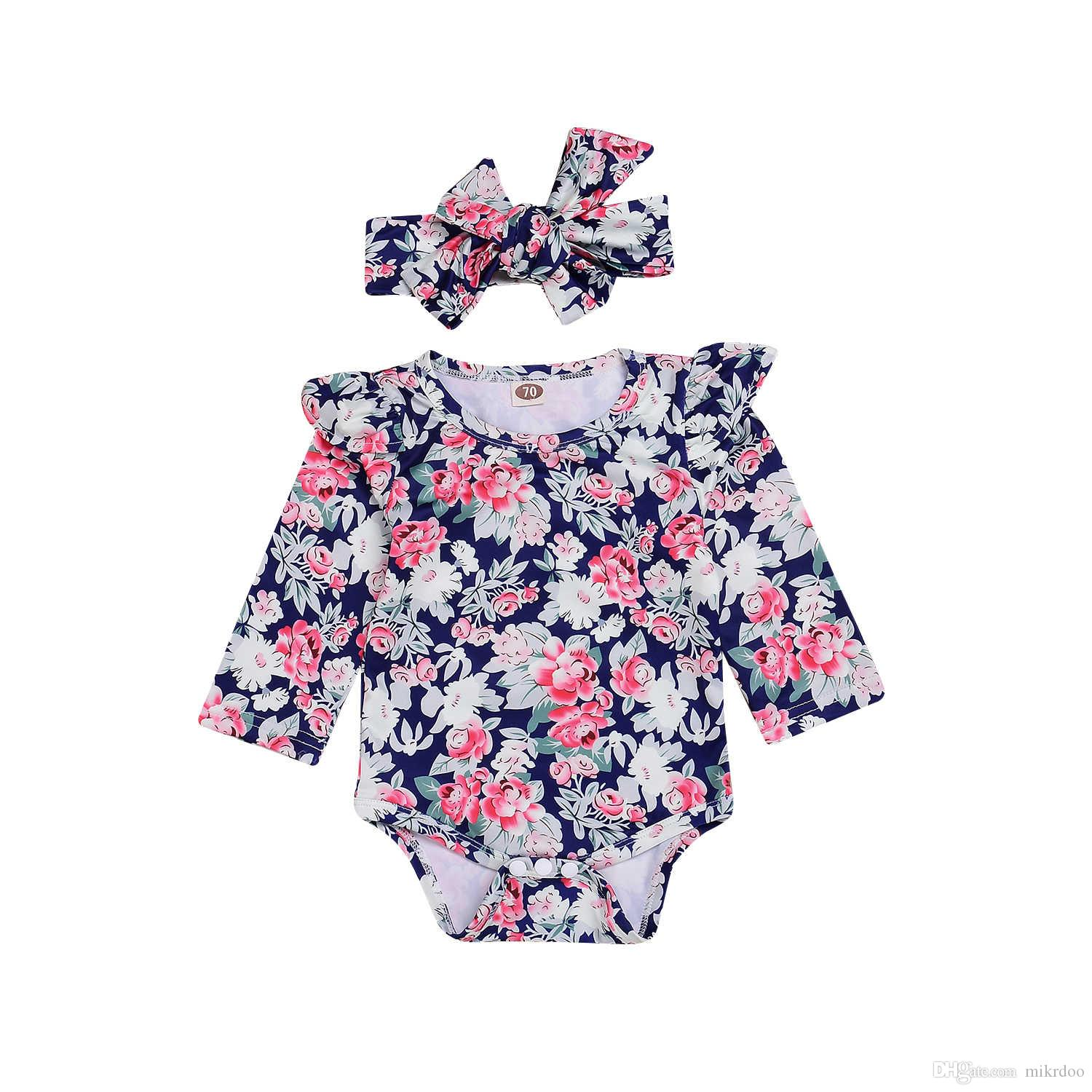 0dcb4aa87e77 2019 Mikrdoo Cute Newborn Baby Girl Floral Romper Jumpsuit Set Long Sleeve  Romper With Headband Kids Clothing Set From Mikrdoo