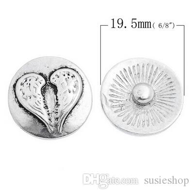 천사 날개 심장 스냅 20mm에 대한 생강 스냅 - Noosa 스타일 스냅 버튼 - 핸드 스냅 버튼