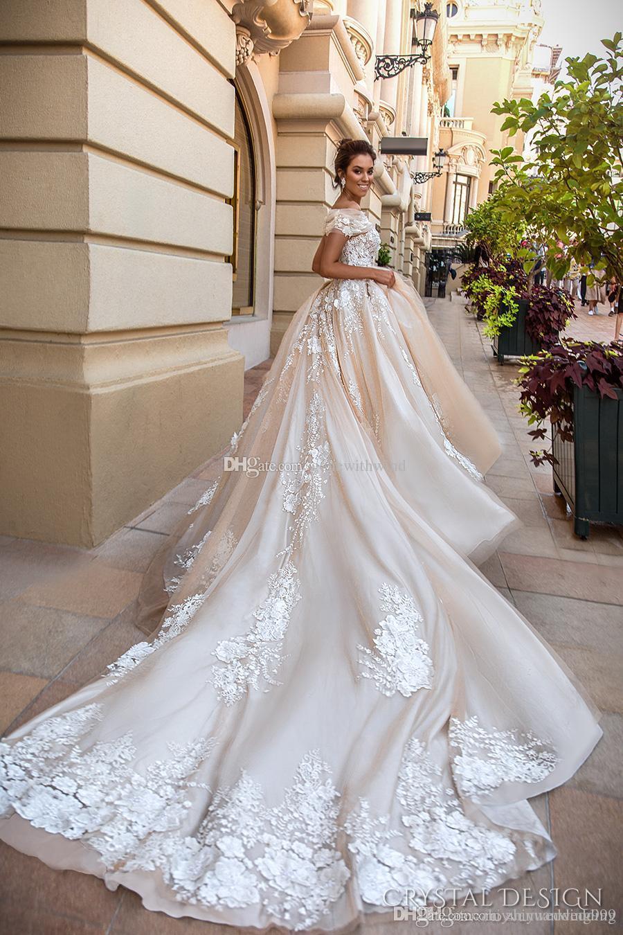 Romantic Princess Lace Appliques Ball Gown Wedding Dresses 2017 ...
