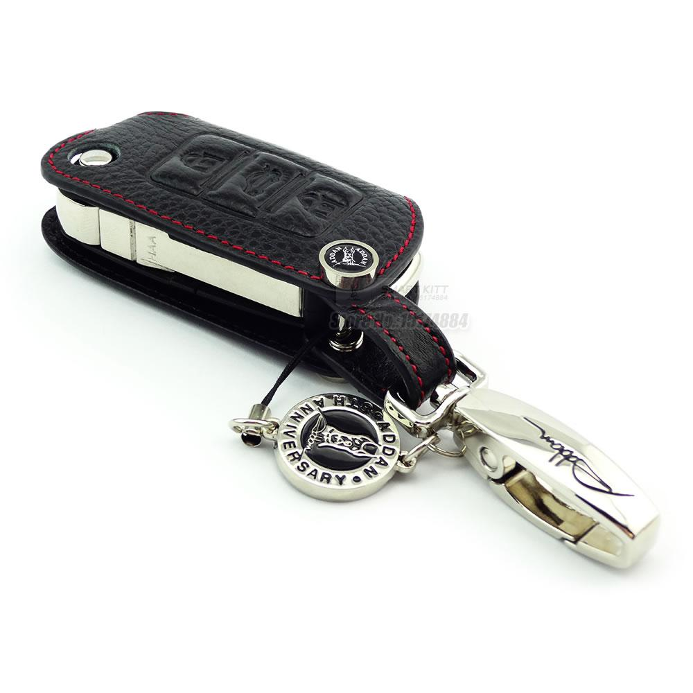 Genuine Leather Car Key Fob Case for Volkswagen Eos Touran Jetta