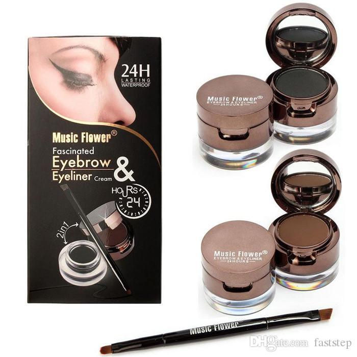 4 в 1 глаз Макияж набор гель подводка для глаз коричневый + черный бровей порошок коричневый + черный макияж водонепроницаемый и подтекст-доказательство Eye Liner Kit горячий продавать