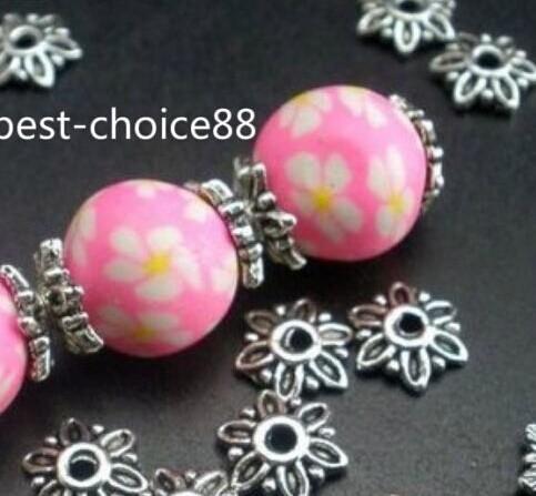 / tibetansk silver söt blomma pärlor kepsar för smycken gör 8mmx2.5mm