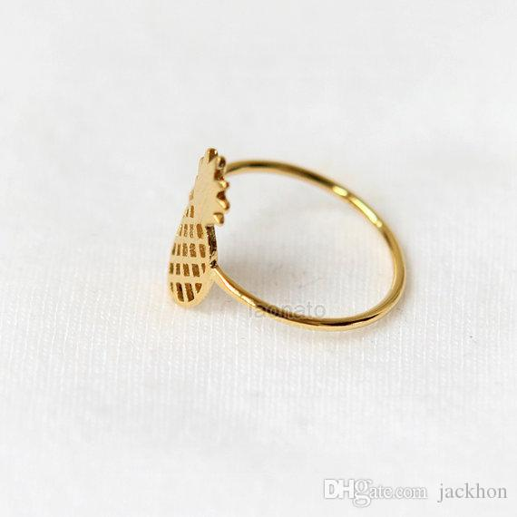 30 шт.-золото серебро симпатичные ананас кольца прекрасный ананас кольца простой смешно наброски фруктовые кольца для женщин Дамы партии подарки