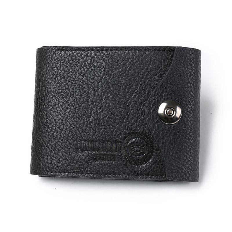 fashion short purse super slim business style magnet closure men designer genuine leather wallets black brown