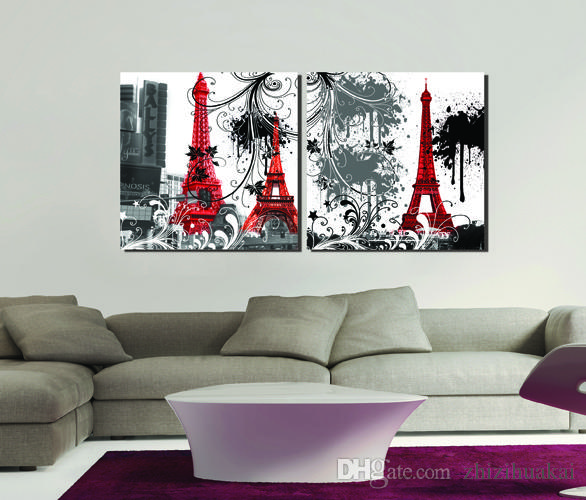 2 Pieces Free shipping Painting Art Picture Paint on Canvas Prints guidepost Eiffel Tower Red Telephone booth Small town house car