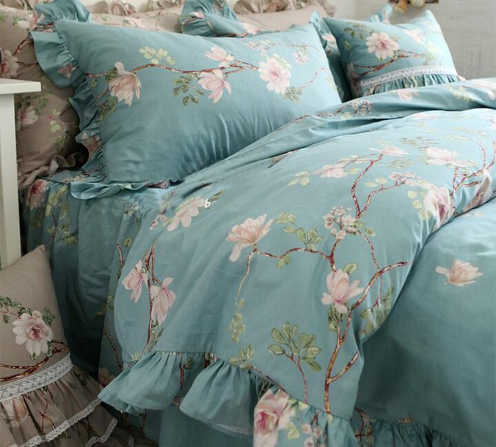 Princess ruffled bedding set girl,twin full queen king cotton pastoral blue floral bedclothes bed dress pillow case duvet cover